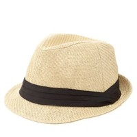 Tan Ruched Band Straw Fedora Hat by Charlotte Russe
