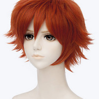Orange Wide Short Hair Synthetic Wig