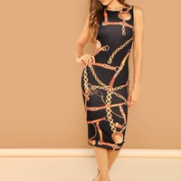 Chain Print Sleeveless Pencil Dress