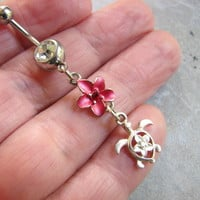 Silver Sea Turtle Belly Button Piercing with Pink Plumeria