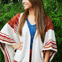 Indian Style Pancho: Taupe | Hope's
