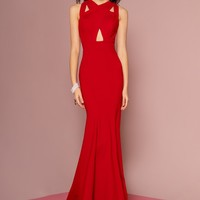 Sexy red evening gown gls 2706