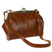 Retro Vintage Lady PU Leather Shoulder Messenger Handbag Satchel Tote Bag Crossbody H8963 (Color: Brown) = 1932638916