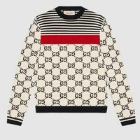GUCCI Sweater Long Sleeve New Trending Women Men Round Collar Wool GG Letter Print Sweater Top I-A-HRWM