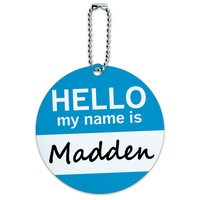 Madden Hello My Name Is Round ID Card Luggage Tag