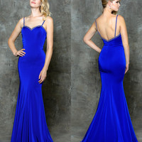 GLOW G714 Beaded Sweetheart Neckline Stretch Prom Evening Dress