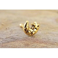 Gold Moon and Stars 14kt Gold Nose Ring Gold Nose Stud