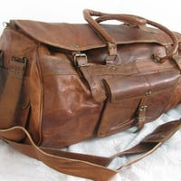 Steampunk Distress Leather Travel Bag Leather Duffle Bag Cabin Sports Holiday Bag Overnight Bag