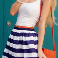 White Tank Top Striped Mini Dress