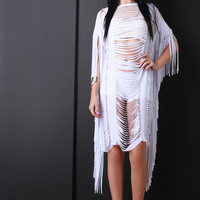 Fringe Slit Overlay Dress
