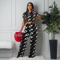 FENDI Women Fashion Two Piece Top Pants Two-Piece F122