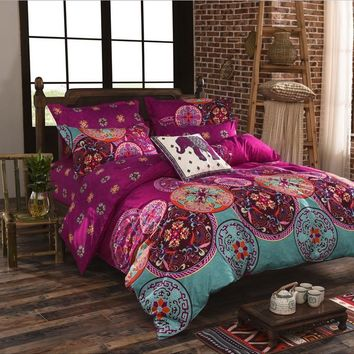 Bohemia 4 /3PCS3d bedding sets Sham Boho Mandala duvet cover set winter bedsheet queen king size Cotton folk-custom Bed set