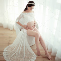 White Lace Maternity dress Photography Props Sexy Dresses with Headwear Pregnant Women Elegant Fancy Photo Women Clothes Hot
