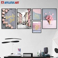 Nordic Poster Flower Street Landscape Wall Art Canvas Painting Posters And Prints Wall Pictures For Living Room Decor