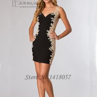 Vestidos de Coctel Robe de Cocktail 2016 Short Sheath Homecoming Dresses Black Lace Cocktail Dress Backless Party Gowns
