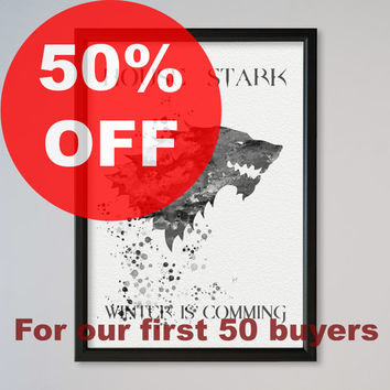 House Stark Watercolour Print Wall Art Giclee Poster Home Decor Game of Thrones Stark Sigil Print Winter is Coming