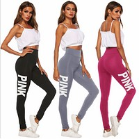 Onewel Victoria's Secret PINK Women's Fashion Print Exercise Fitness Gym Yoga Running Leggings Sweatpants