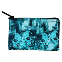 Perfectly Flawed Blue Dreaming Skulls Coin Purse