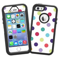 "Polka Dot Explosion on White ""Protective Decal Skin"" for OtterBox Defender iPhone 5s Case"