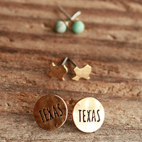 Engraved Texas State Earring Set