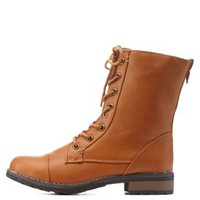 Chestnut Bamboo Lace-Up Combat Boots by Bamboo at Charlotte Russe