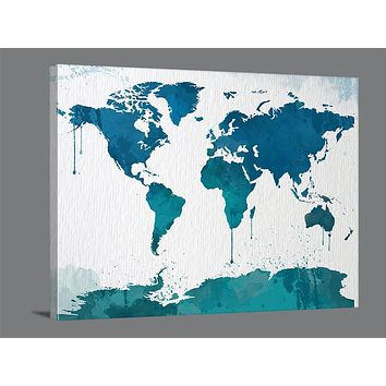 Watercolor Large Wall Art Print World Map Wall Art Framed Canvas Print World Map Silhouettes