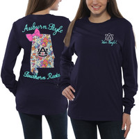 Auburn Tigers Women's Bright Bow Long Sleeve T-Shirt – Navy Blue