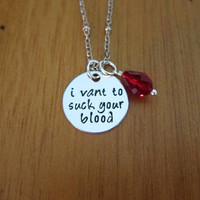 """Vampire Necklace """"I vant to suck your blood"""". Dracula Necklace. Halloween Necklace. Drop of blood Swarovski Crystal. Hand Stamped."""