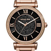 Women's Michael Kors 'Caitlin' Crystal Dial Bracelet Watch, 38mm - Rose Gold/ Black