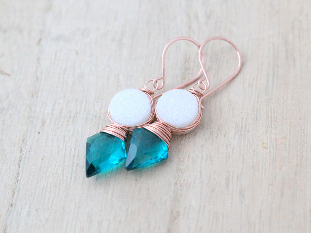 Image of Compass Earrings - Teal