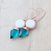Compass Earrings - Teal