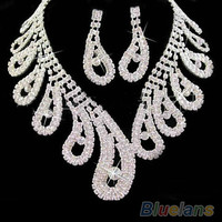 women wedding Bridal party Rhinestone crystal necklace earrings Jewelry sets new  1G1F