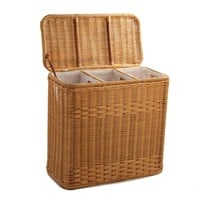 3-Compartment Wicker Laundry Hamper