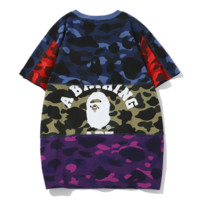 Bape Aape New fashion letter pattern print couple camouflage top t-shirt