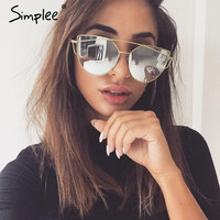 Simplee Fashion cat eye sunglasses women Twin-beams photochromic sun glasses 2017 Golden alloy frame outdoor glasses