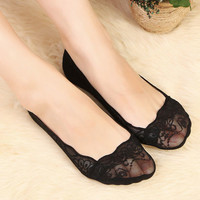 1 Pair Woman socks Lady Girls Cotton Lace Antiskid Invisible Liner No Show Low Cut Sock