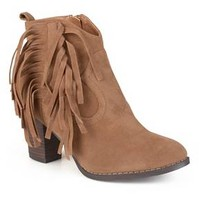 Women's Journee Collection Spin Faux Suede Fringed Booties : Target