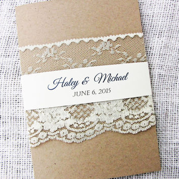 Lace Wedding Invitation, Rustic Wedding Invitation, Shabby Chic, Vintage Wedding Invitation Suite of 50