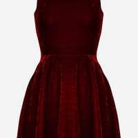 Red or Black Velvet Fit + Flare Sleeveless Skater Mini Dress