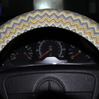 Yellow and Gray Chevron  Steering Wheel Cover , New Year Cover Wheel .