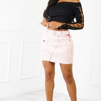 Pay Me Suede Skirt - Pink