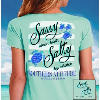 Southern Attitude Mint Turtles Sassy Since Birth T-Shirt