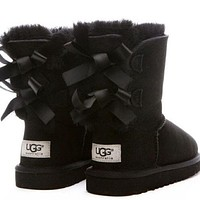 UGG:: bow leather boots boots in tube One-nice™