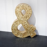 Gold Glitter Stand Up Decorative Ampersand & Sign, Wedding Reception, Table Numbers, Photo Prop, Initials