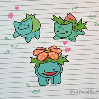 Bulbasaur/Ivysaur/Venasaur Stickers and Magnets