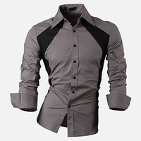 Jeansian Mens Double Side Slim Dress Causal Shirts Top 4 Colors 5 Sizes 80112