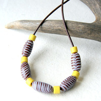 Trade Bead Necklace - glass beads - brown, yellow, white - brown leather cord - men - unisex - rustic jewelry - Autumn Fashion