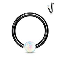BodyJ4You Nose Ring Hoop Tragus Helix Earring Opal Stone Black Stainless Steel 16G Piercing Jewelry