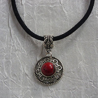 """BLACK REAL LEATHER CORD TIBETAN SILVER CHARM PENDANT 17"""" CHOKER NECKLACE, SURF"""