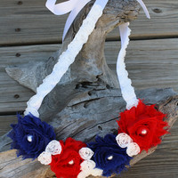 Red, White, and Blue Shabby Chic Flower Ribbon Statement Necklace, 4th of July, Patriotic